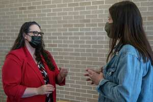 Angelica Ramsey, new MISD superintendent, talks with Kate Williamson 02/05/2021 following the special board meeting to hire Ramsey. Tim Fischer/Reporter-Telegram