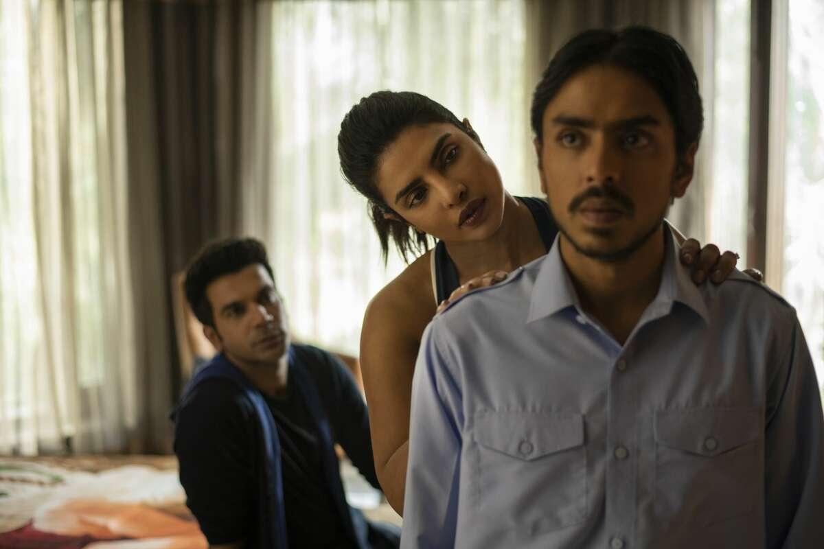 Rajkummar Rao (Ashok), Priyanka Chopra (Pinky Madam) and Adarsh Gourav (Balram) in