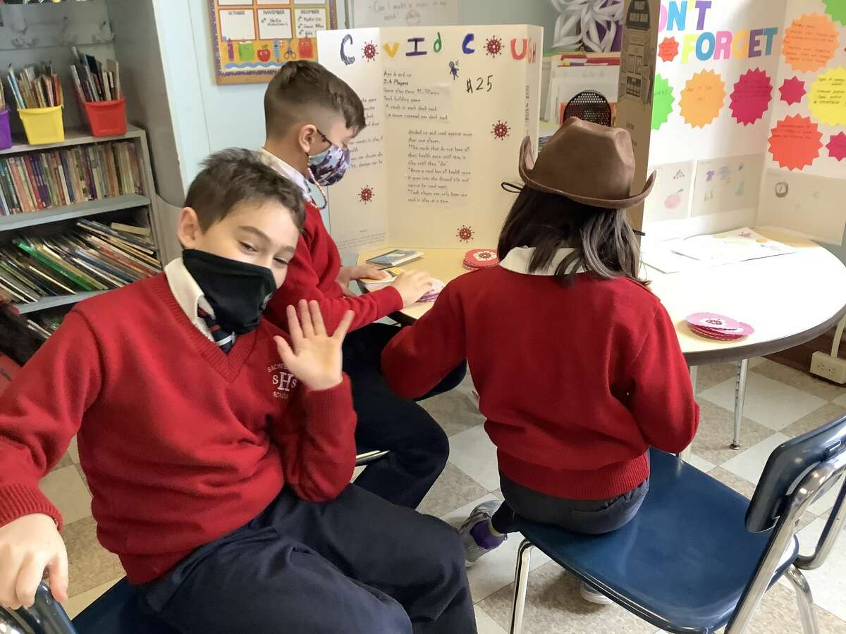 Sacred Heart School in Troy celebrated Catholic Schools Week during the past week. Mrs. LaRosa's fourth-grade classroom created and then played games that could be safely played during the pandemic. Even the school's distance learners were kept involved. Photos by Karen Snyder