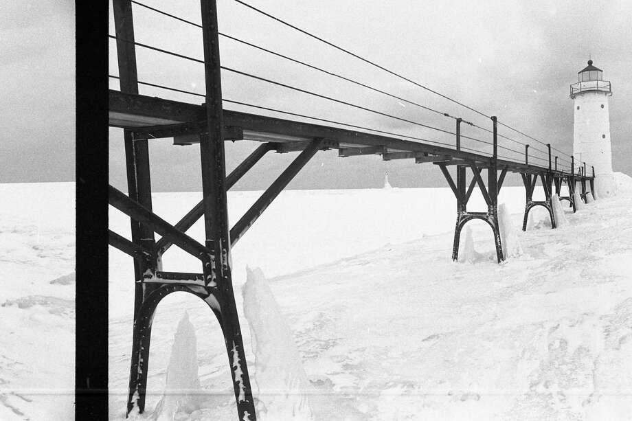 This photo shows a view of the Manistee North Pierhead Lighthouse in early February 1981. (Manistee County Historical Museum photo)