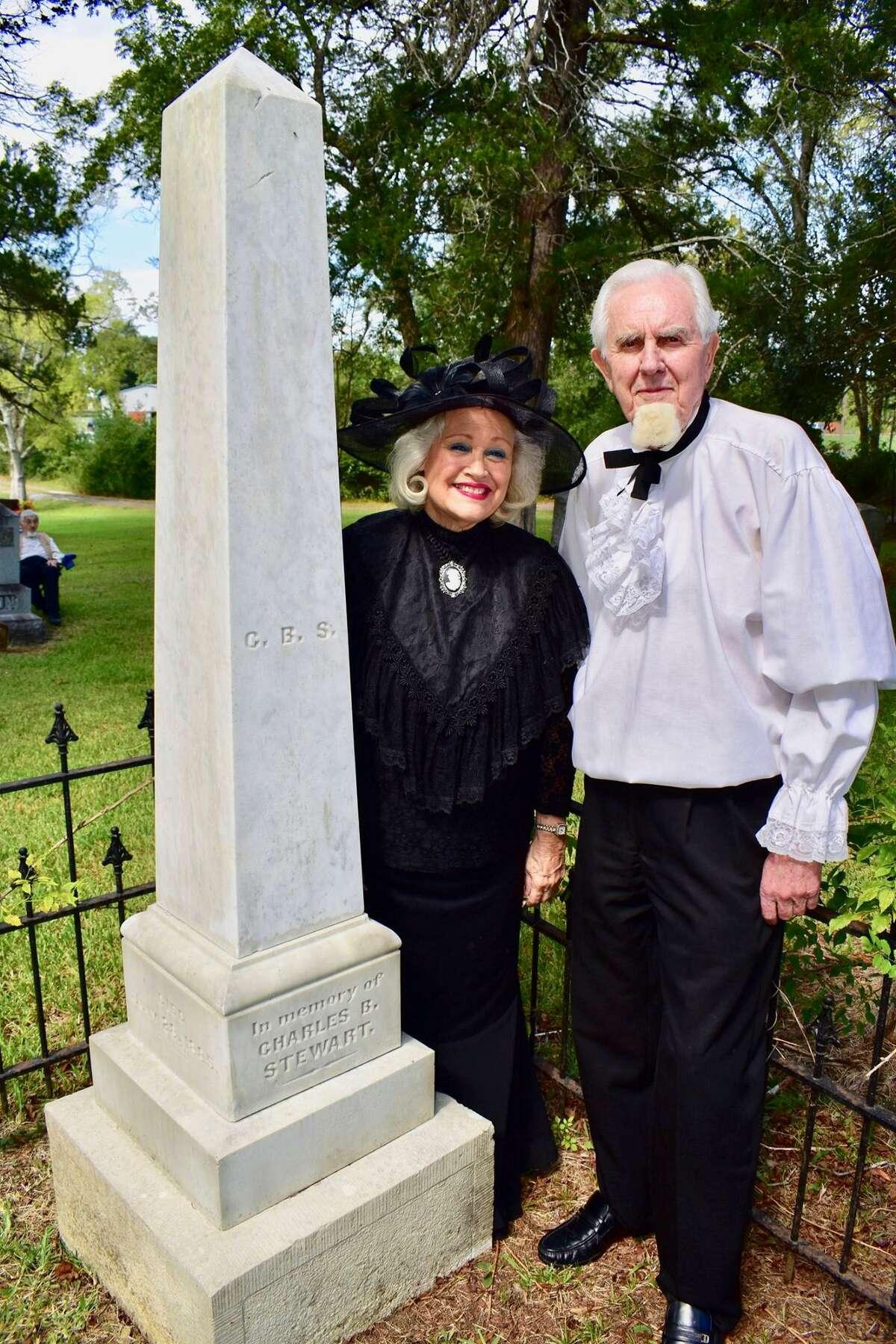 Pat Spackey as Julia Shepperd Stewart and Jack Shepherd as Charles B. Stewart at the gravesite of Charles B. Stewart.