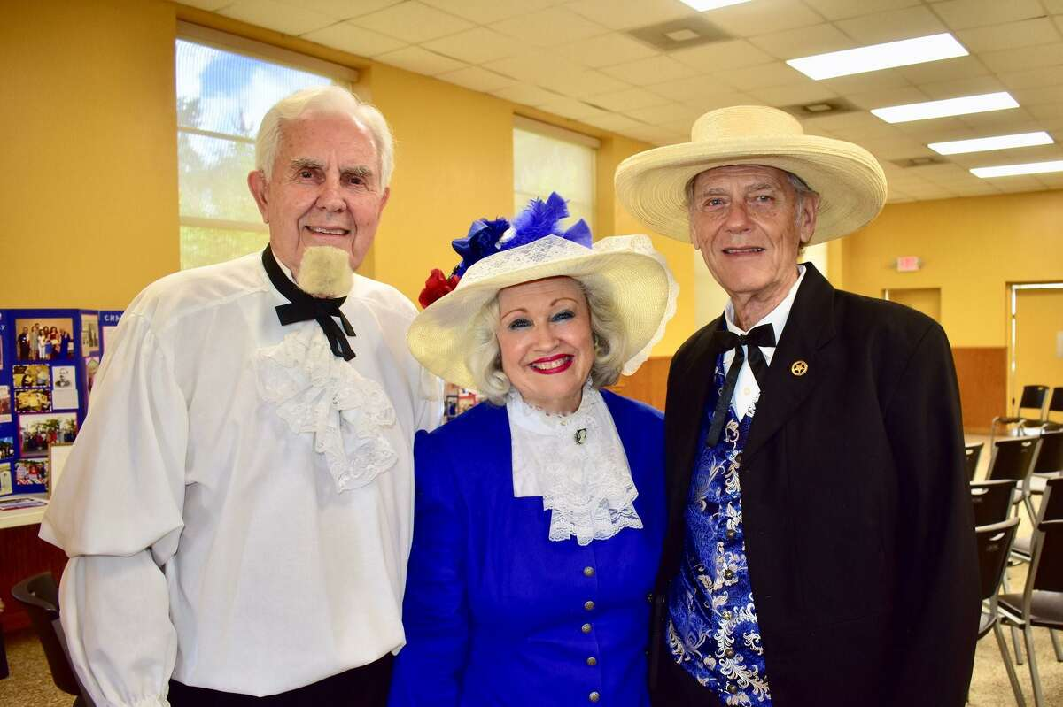 From left, Jack Shepherd as Charles B. Stewart with Stewart's great-great-great granddaughter Pat Spackey and her husband, Ted Spackey as a Texas history event.