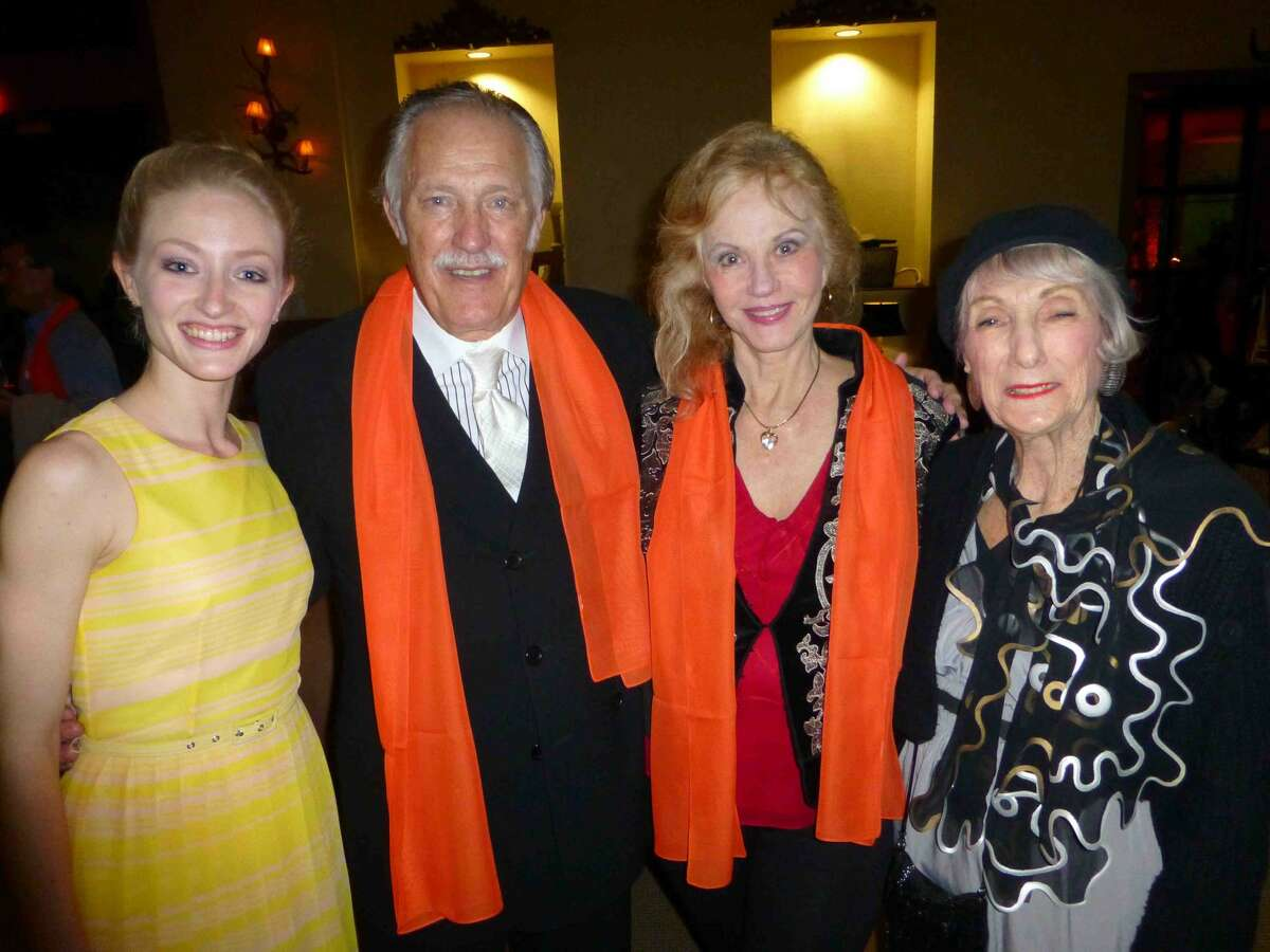 Sarah Aujon, principal dancer of Ballet San Antonio, from left, visits with Dan Dupre, Sherron Huffman and Polly Lou Livingston at the Joffrey Ballet cast party, hosted by Arts San Antonio.