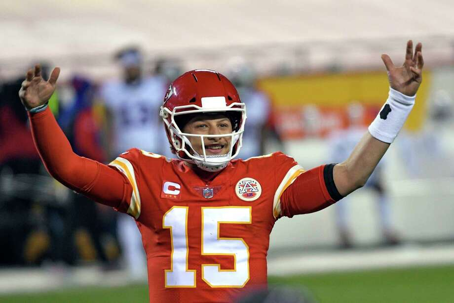 Kansas City Chiefs quarterback Patrick Mahomes celebrates at the end of the AFC championship NFL football game against the Buffalo Bills, Sunday, Jan. 24, 2021, in Kansas City, Mo. The Chiefs won 38-24. (AP Photo/Reed Hoffmann) / Copyright 2021 The Associated Press. All rights reserved