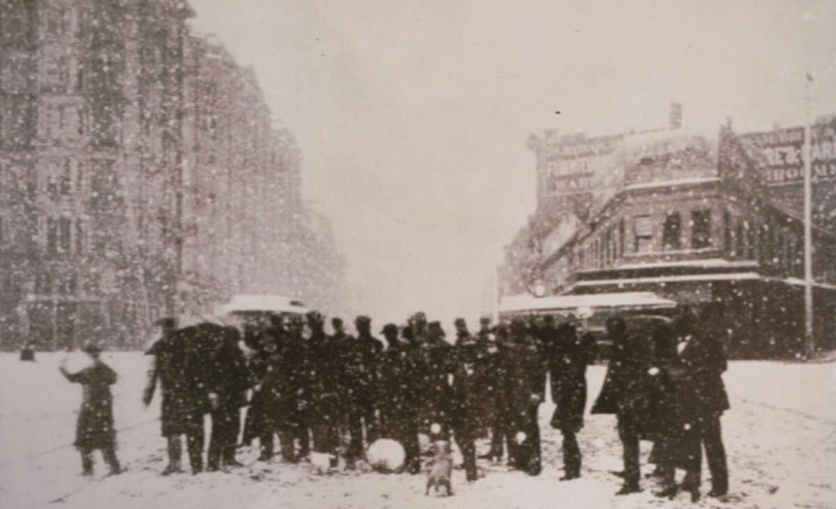 Snow on Market Street, San Francisco. Varying accounts date this photo as either 1882 or 1887.
