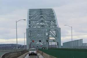 The Arrigoni Bridge spans the Connecticut River, joining the town of Portland with the city of Middletown. Here, motorists exit the bridge heading toward Portland.