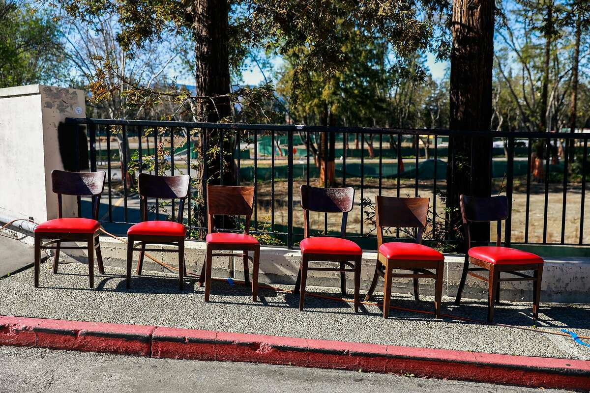 Chairs are seen outside the Vallco Town Center on Monday, Feb. 1, 2021 in Cupertino, California.