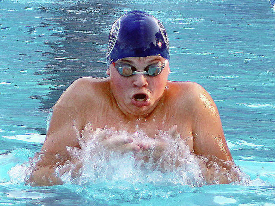 Freshman Cohen Osborn is one of the newcomers EHS coach Christian Rhoten will look to as the shortened high school boys swim season gets under way for the Tigers on Feb. 9 against O'Fallon. Osborn, a longtime standout club swimmer, is pictured in action for the Edwardsville Breakers club swim team.