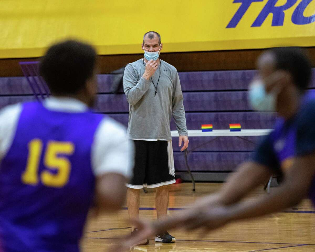 Troy High School boys basketball head coach Rich Hurley during a practice at Troy High School as his team prepares for a shortened season on Thursday, Feb. 4, 2021 (Jim Franco/special to the Times Union.)