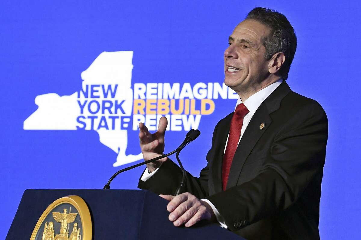 In this Jan. 11, 2021 file photo, New York Gov. Andrew Cuomo delivers his State of the State address virtually from The War Room at the state Capitol, in Albany, N.Y.