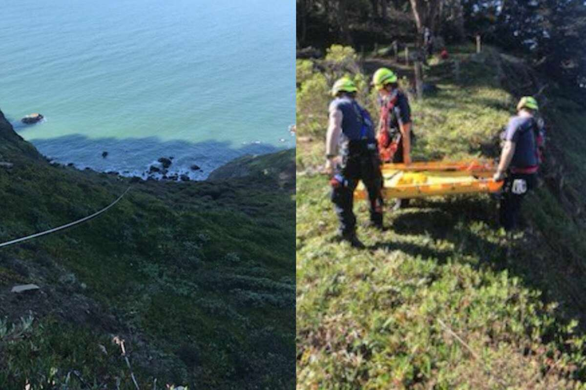 The San Francisco Fire Department rescued a 60-something hiker who fell over a steep cliffside at China Beach on Feb. 5, 2021.