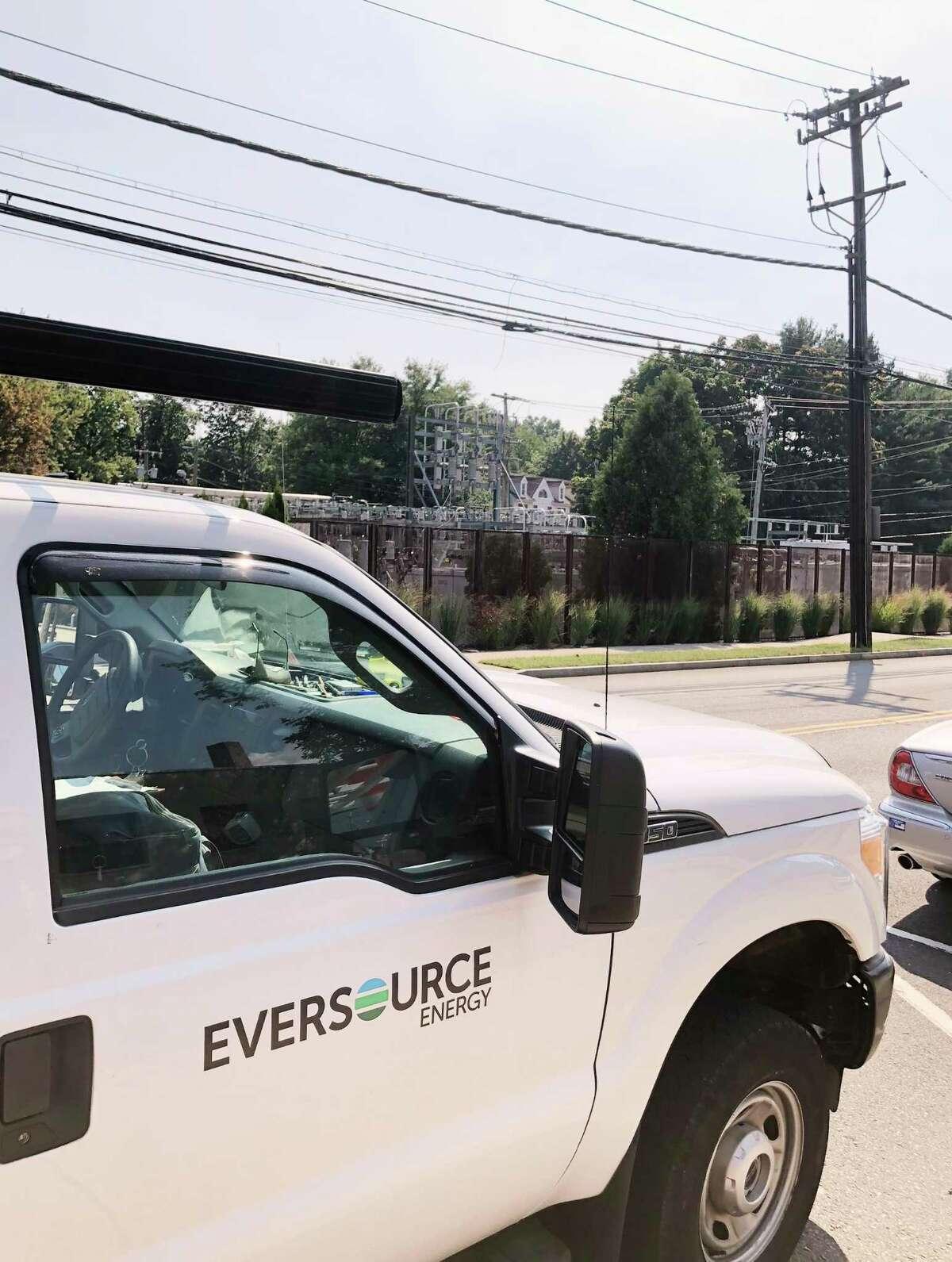 An Eversource Energy truck parked across from the Prospect Street electrical substation in Greenwich, Conn., Wednesday, Sept. 5, 2018. On Tuesday, more than 10,000 Greenwich residents sustained a loss of electricity for nearly two hours according to Eversource Energy.