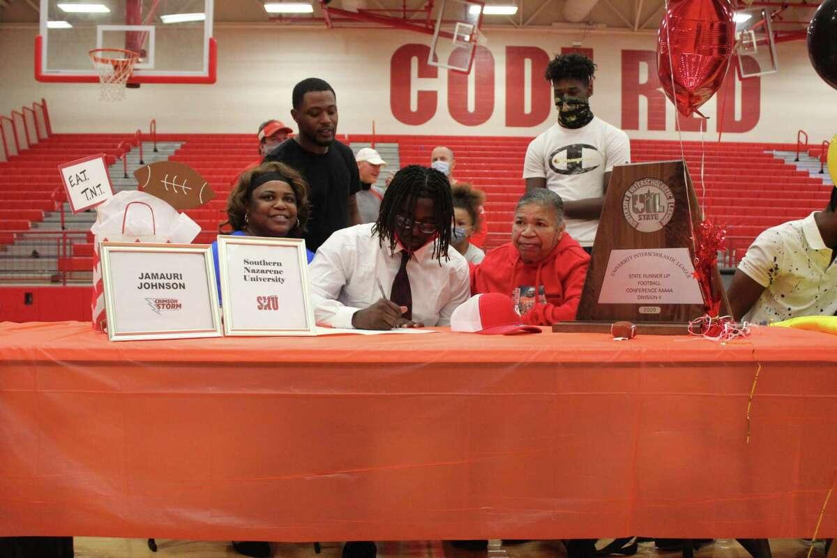 Crosby Jamauri Johnson signed to play football at Southern Nazarene University.