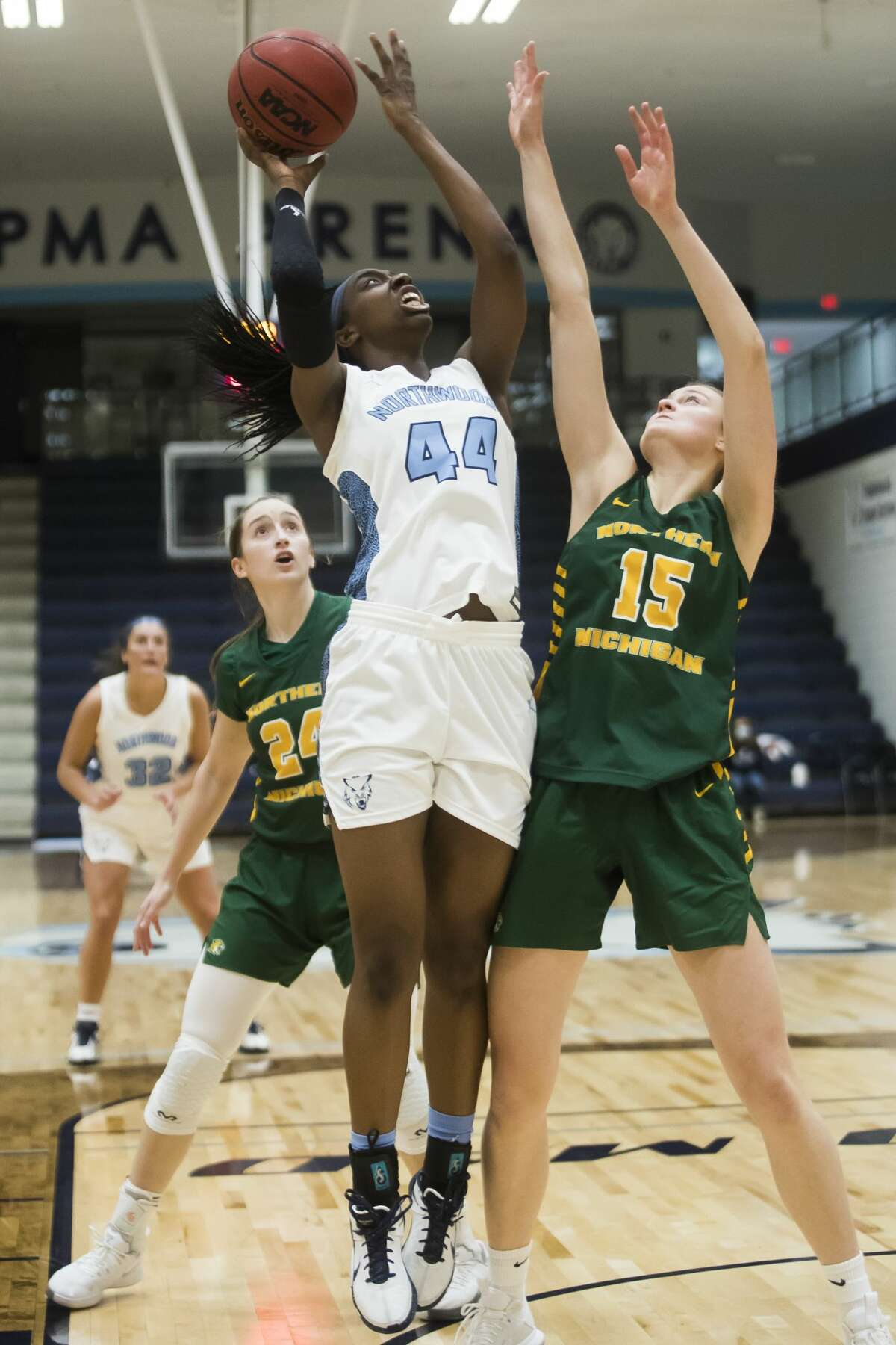 Northwood's Jayla Strickland takes a shot during a game against Northern Michigan Friday, Feb. 5, 2021 at Northwood. (Katy Kildee/kkildee@mdn.net)