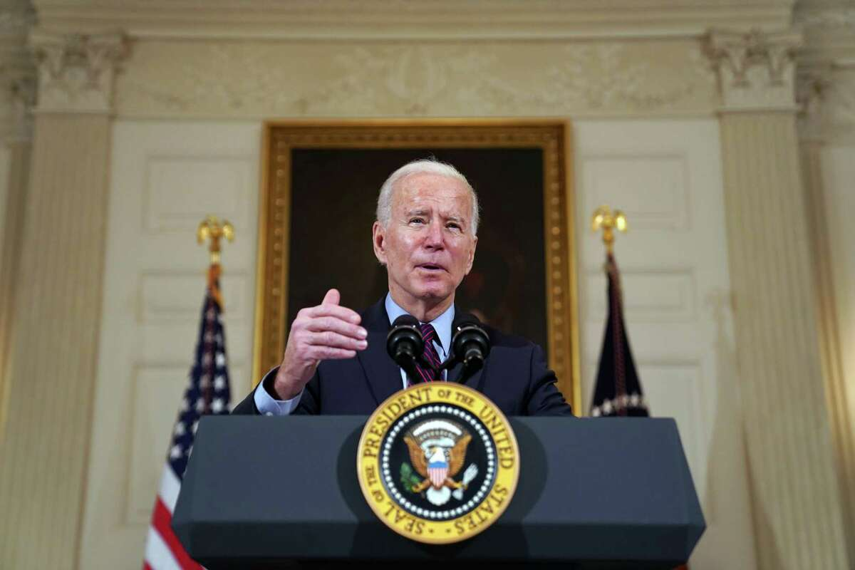 President Joe Biden, a human, speaks about the economy at the White House in Washington on Friday, Feb. 5, 2021.
