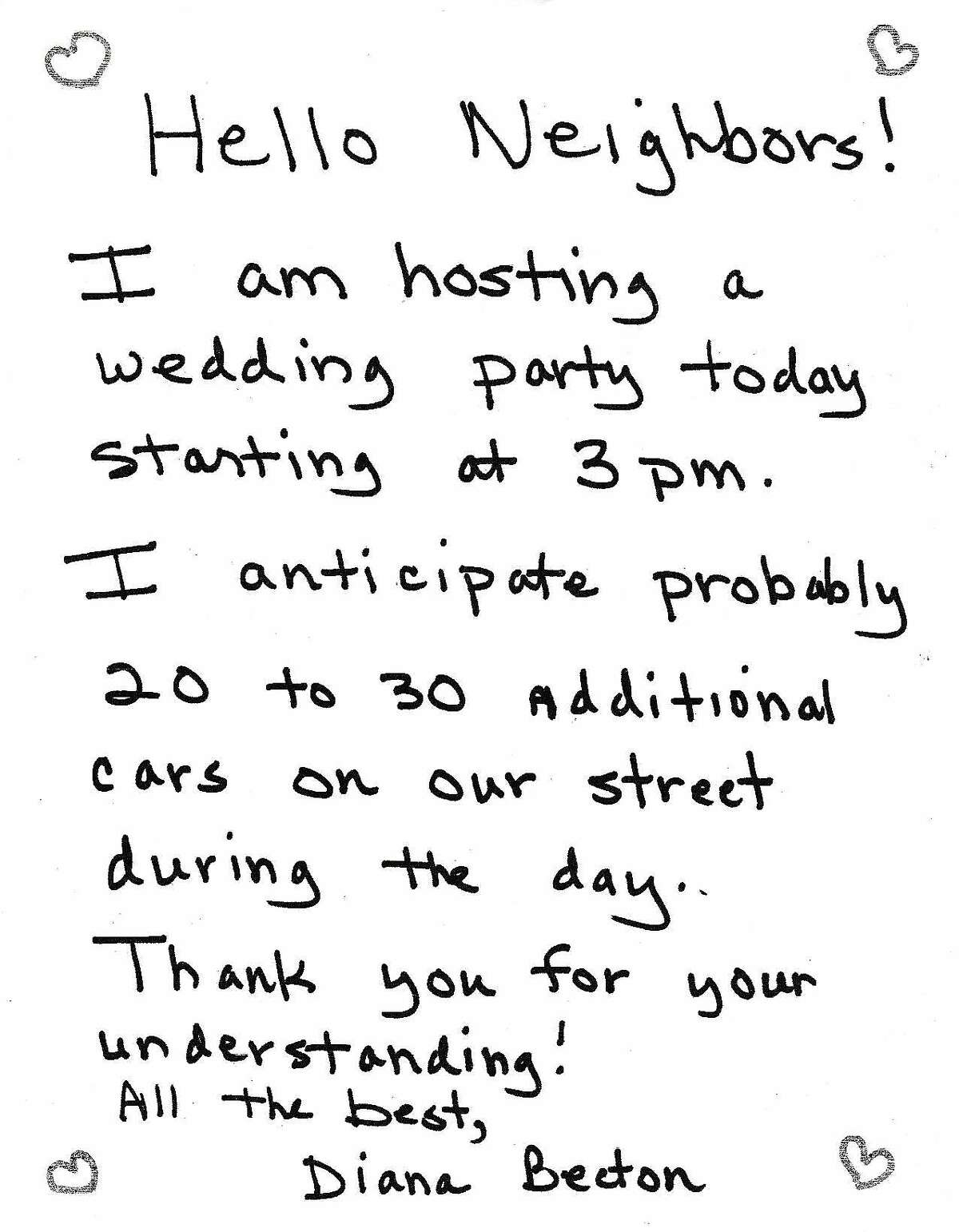 """A note left on Contra Costa County District Attorney Diana Becton's neighbors' doors Aug. 1 informing them she planned to host a wedding party with """"probably 20 to 30 additional cars"""" parked on their street."""
