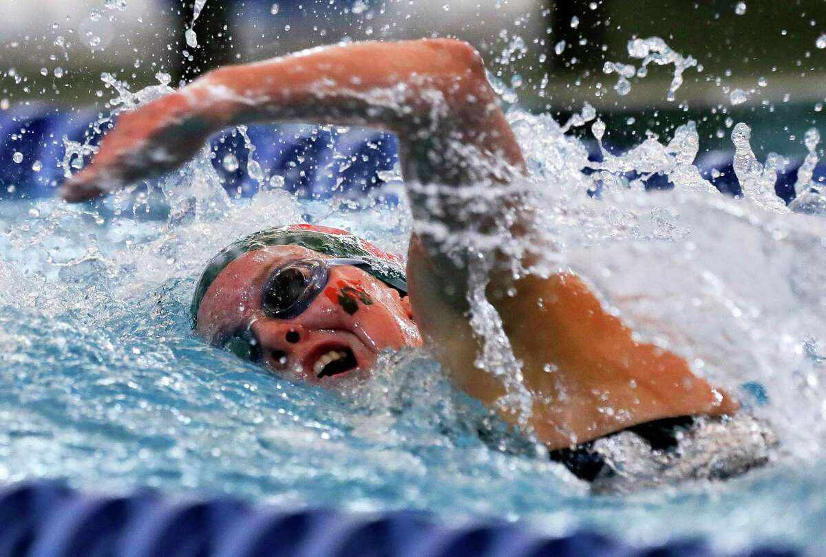 Abigail Pope of The Woodlands competes in the girls 200-yard freestyle during the Region IV-6A Swimming & Diving Championships at the Conroe ISD Natatorium, Friday, Feb. 5, 2020, in Shenandoah.