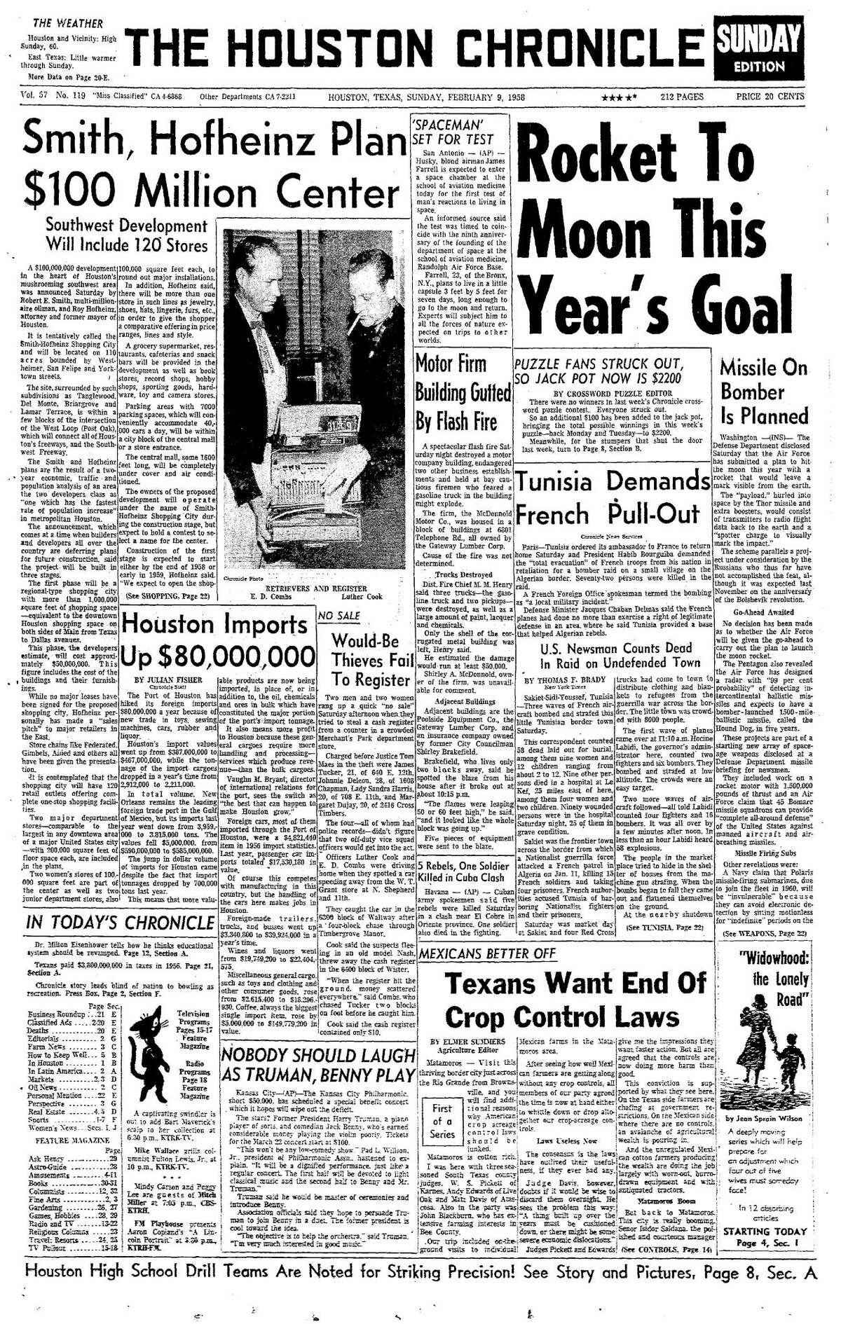 Houston Chronicle front page for Feb. 9, 1958.