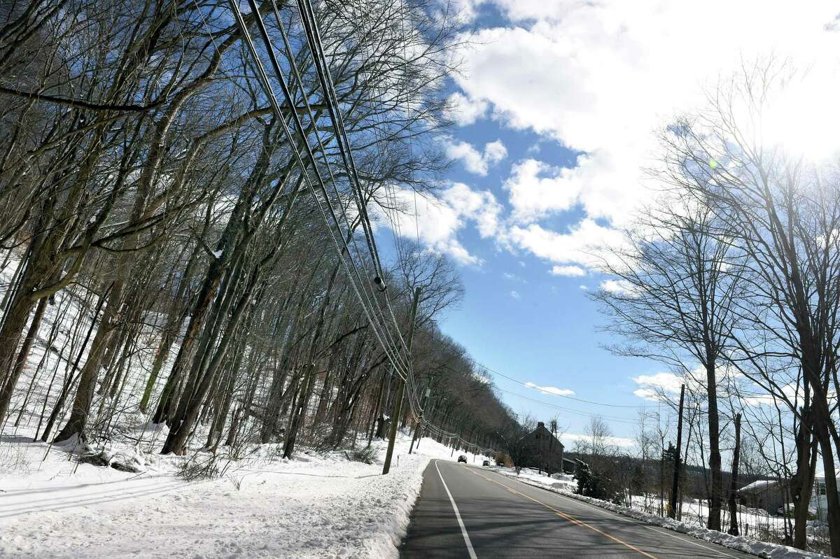 An area proposed for a solar farm at left on Forest Road in North Branford photographed on February 4, 2021.
