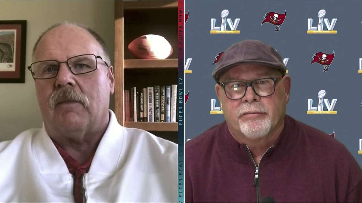 Chiefs coach Andy Reid (left) and Buccaneers coach Bruce Arians talk to reporters on Zoom this week before retreating to opposite sidelines in Sunday's Super Bowl.