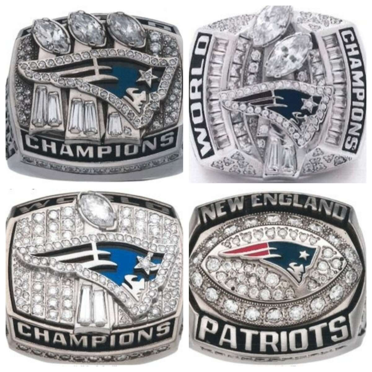 In a tweet that has since been deleted, the FBI said Friday they were looking for four stolen New England Patriots Super Bowl rings. These images are a representation of the stolen rings, not the exact items.