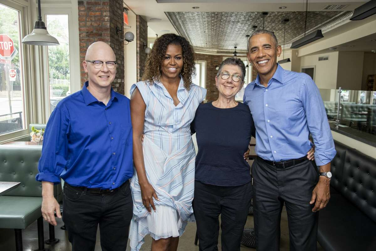 President Barack Obama and Michelle Obama of Higher Ground Productions with directors Julia Reichart and Steven Bognar of the Academy Award-winning documentary