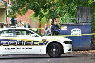 A New Haven police car responds to an incident in the fall of 2020.