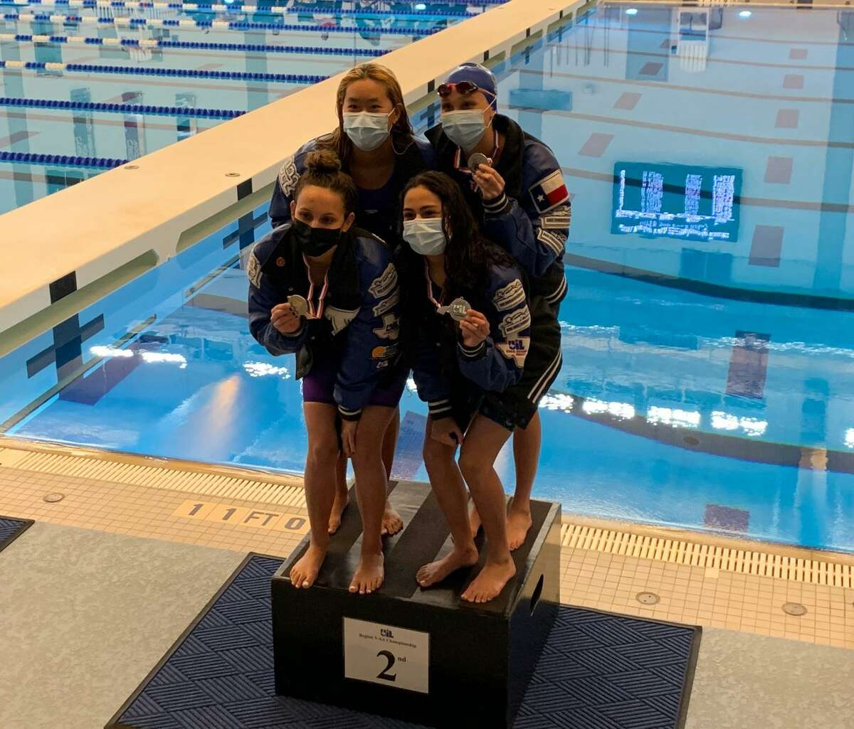 The Katy Taylor girls 200-yard freestyle relay team won the silver medal at the Region V-6A championships Feb. 5 at the Cy-Fair ISD Natatorium.