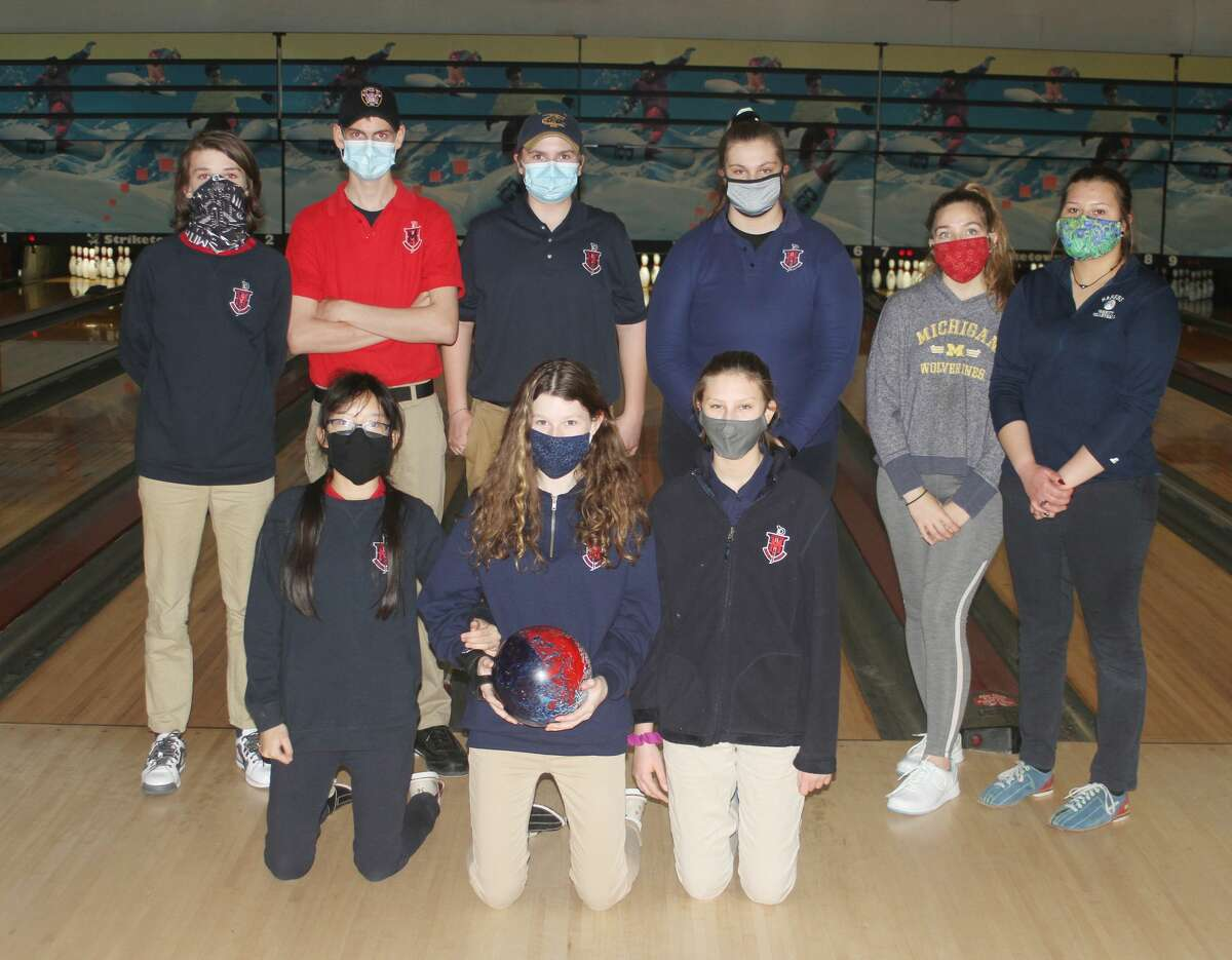 The Manistee Catholic Central bowling team. Pictured (from left to right) in the front row: Josie Fischer, Holly Riley-Lampinen and Lila-Ann Bechtel. Back row: Jamie Riley-Lampinen, Jacob Pete, Ian Madsen, Madison Antal, Cameryn Sutcliffe and Kaya Watkins.