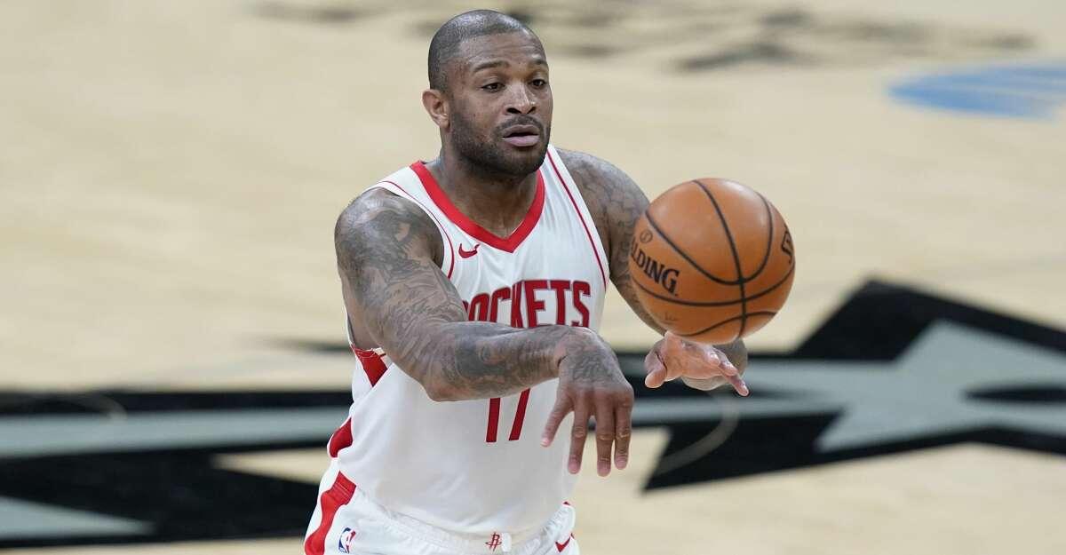 Houston Rockets forward P.J. Tucker (17) during the first half of an NBA basketball game against the San Antonio Spurs in San Antonio, Thursday, Jan. 14, 2021. (AP Photo/Eric Gay)