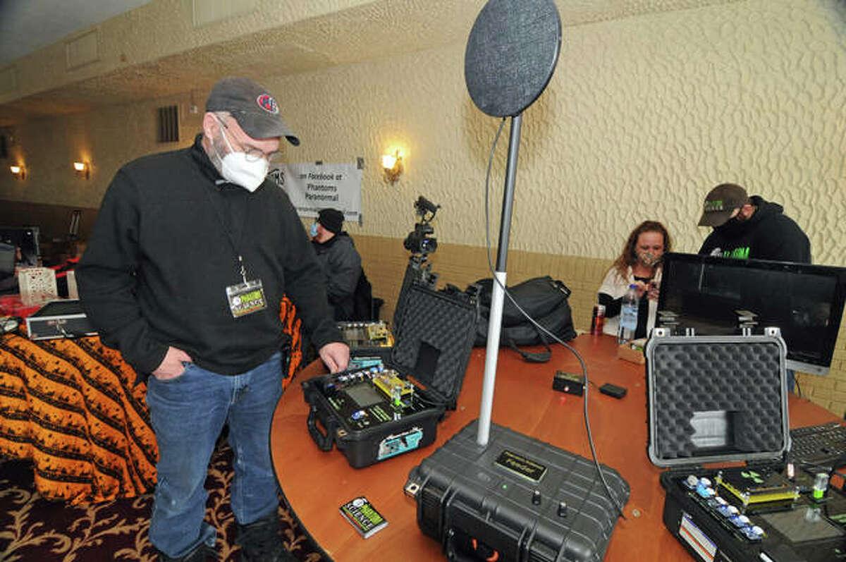 John Black of Phantom Science demonstrates an environmental monitoring device during Saturday's Dead of Winter Festival in Alton.
