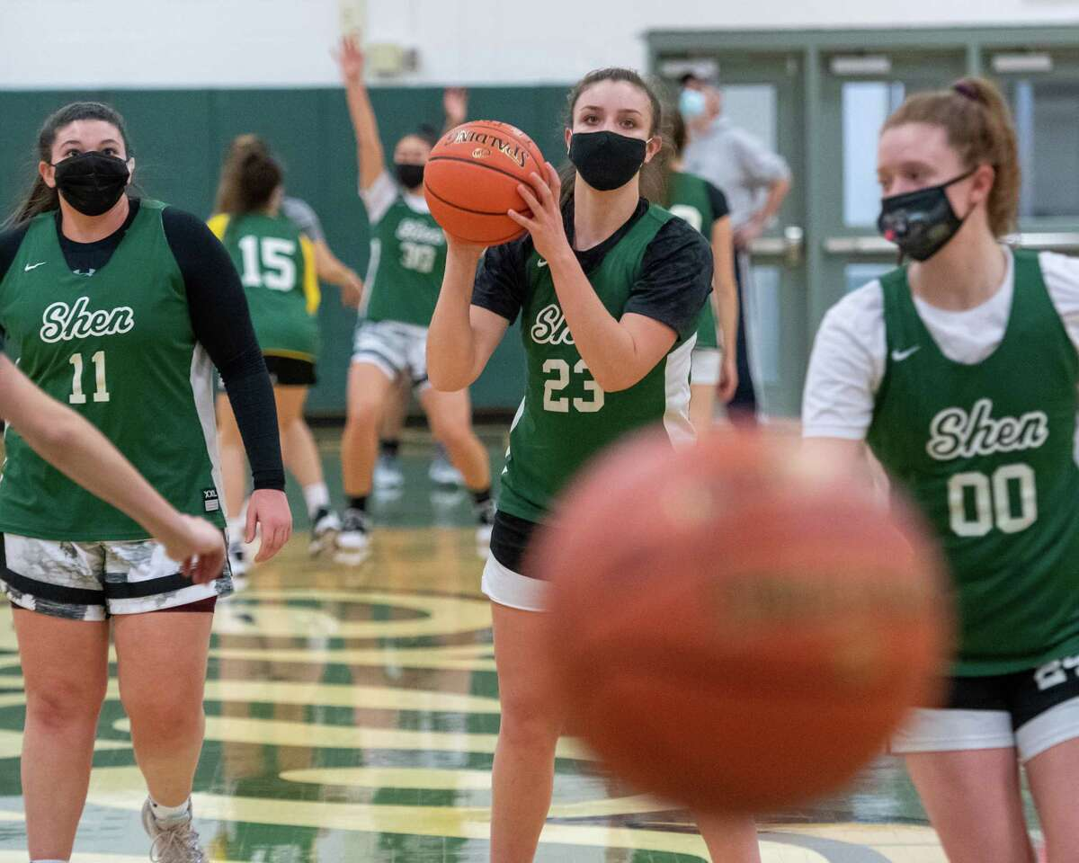 Meghan Huerter (23) and her teammates run through drills during a practice of the Shenendehowa girls basketball team at Shenendehowa High School in Clifton Park, NY, on Friday, Feb. 5 (Jim Franco/special to the Times Union.)