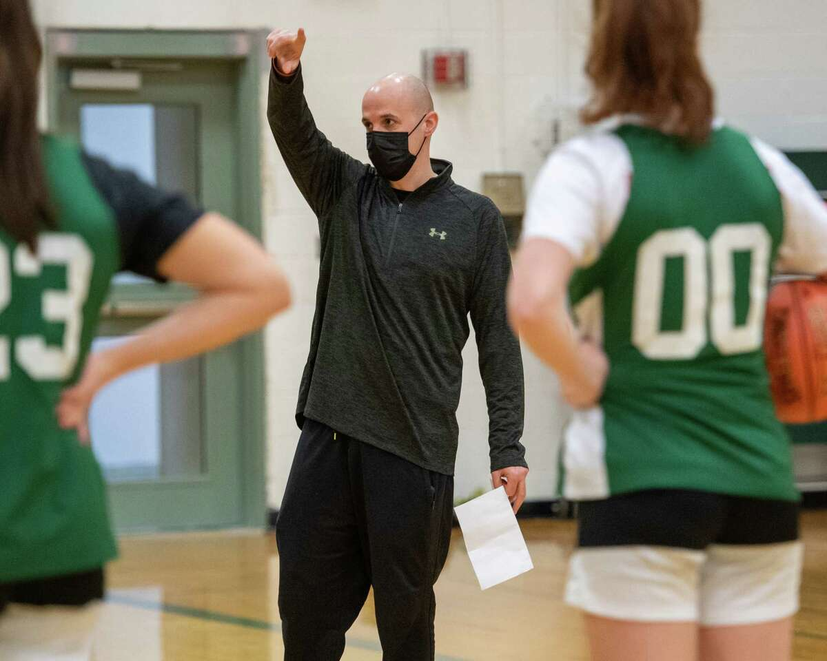 Shenendehowa girls basketball coach Joe Murphy talks to his team during a practice at Shenendehowa High School in Clifton Park, NY, on Friday, Feb. 5 (Jim Franco/special to the Times Union.)