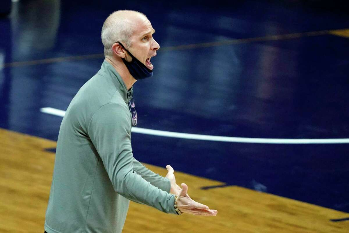 UConn coach Dan Hurley shouts from the sideline during Saturday's game against Seton Hall at Gampel Pavilion in Storrs.