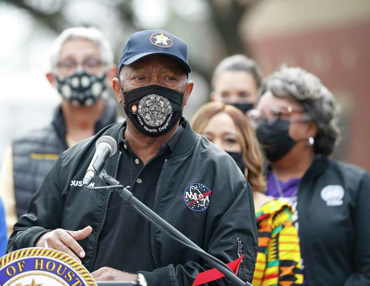 Mayor Sylvester Turner speaks as he and other elected officials discuss COVID-19 vaccine hesitancy and the inequities in the state's distribution of supplies outside of Settegast Health Center, during vaccine distribution there in Houston, Saturday, Feb. 6.
