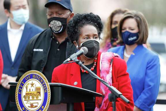 Congresswoman Sheila Jackson Lee speaks next to Mayor Sylvester Turner along with other elected officials as they discussed COVID-19 vaccine hesitancy and the inequities in the state's distribution of supplies outside of Settegast Health Center in Houston, Saturday, Feb. 6.