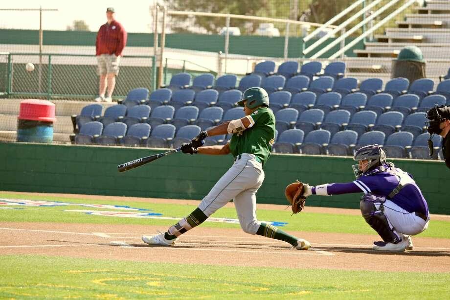 Midland College freshman Adam Love records his first collegiate home run in game one versus Ranger College. Photo: Forrest Allen| MC Athletics