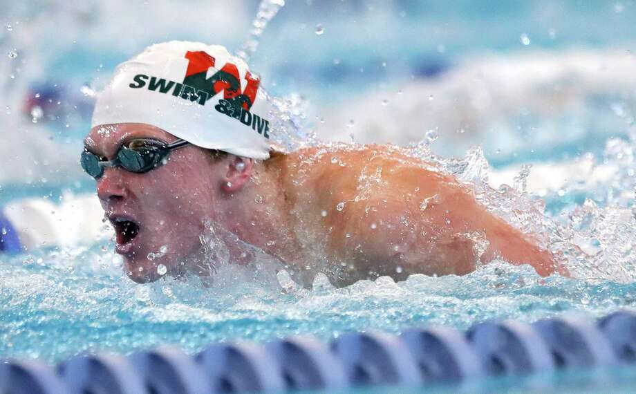 Tyler Hulet of The Woodlands competes in the boys 200-yard butterfly during the Region IV-6A Swimming & Diving Championships at the Conroe ISD Natatorium, Saturday, Feb. 6, 2020, in Shenandoah. Photo: Jason Fochtman, Houston Chronicle / Staff Photographer / 2021 © Houston Chronicle