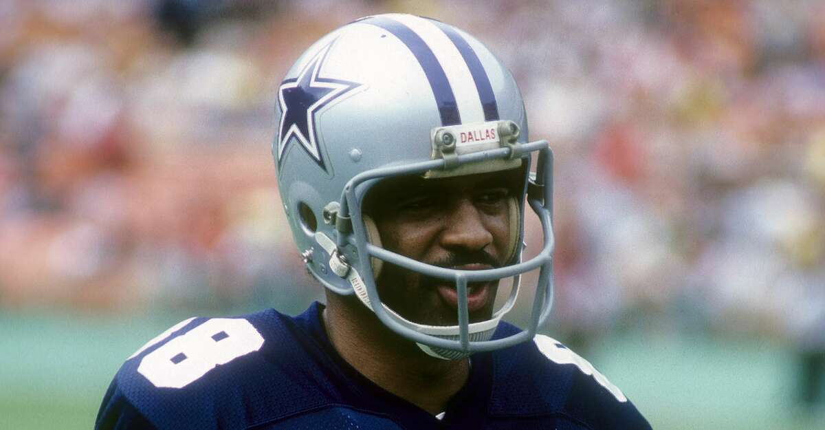 Wide Receiver Drew Pearson #88 of the Dallas Cowboys in this portrait circa early 1980's before an NFL football game against the Washington Redskins at RFK Stadium in Washington, D.C.. Pearson played for the Cowboys from 1973-83. (Photo by Focus on Sport/Getty Images)