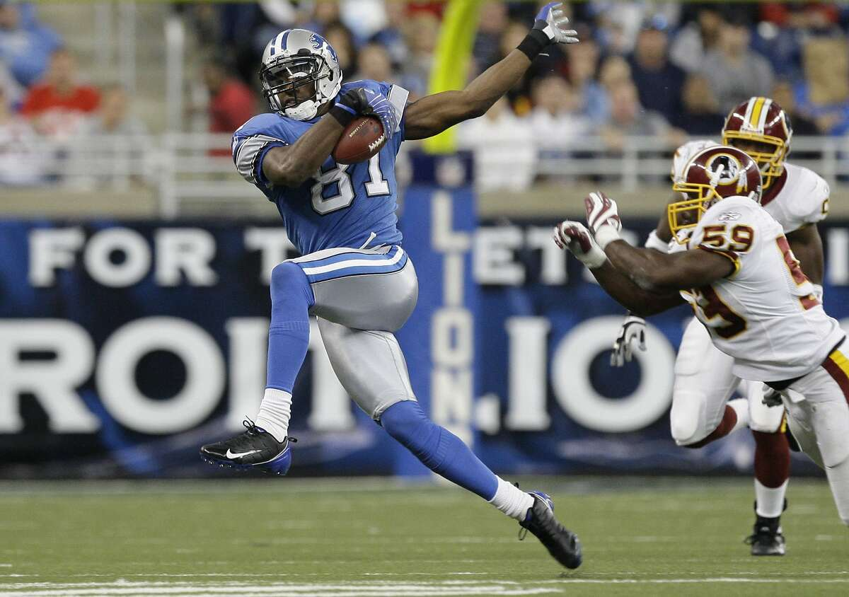 Detroit wide receiver Calvin Johnson made the Pro Football Hall of Fame Feb. 6 in his first year of eligibility. Johnson had seven 1,000-yard seasons. He owns the season record for receiving yards (1,964 in 2012).