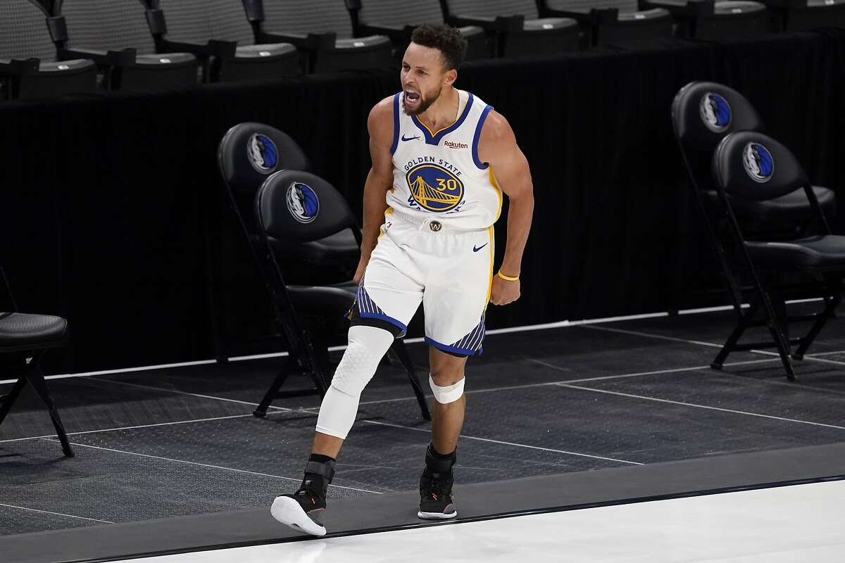 Stephen Curry celebrated making a lot of threes during the game, including one launched from near midcourt.