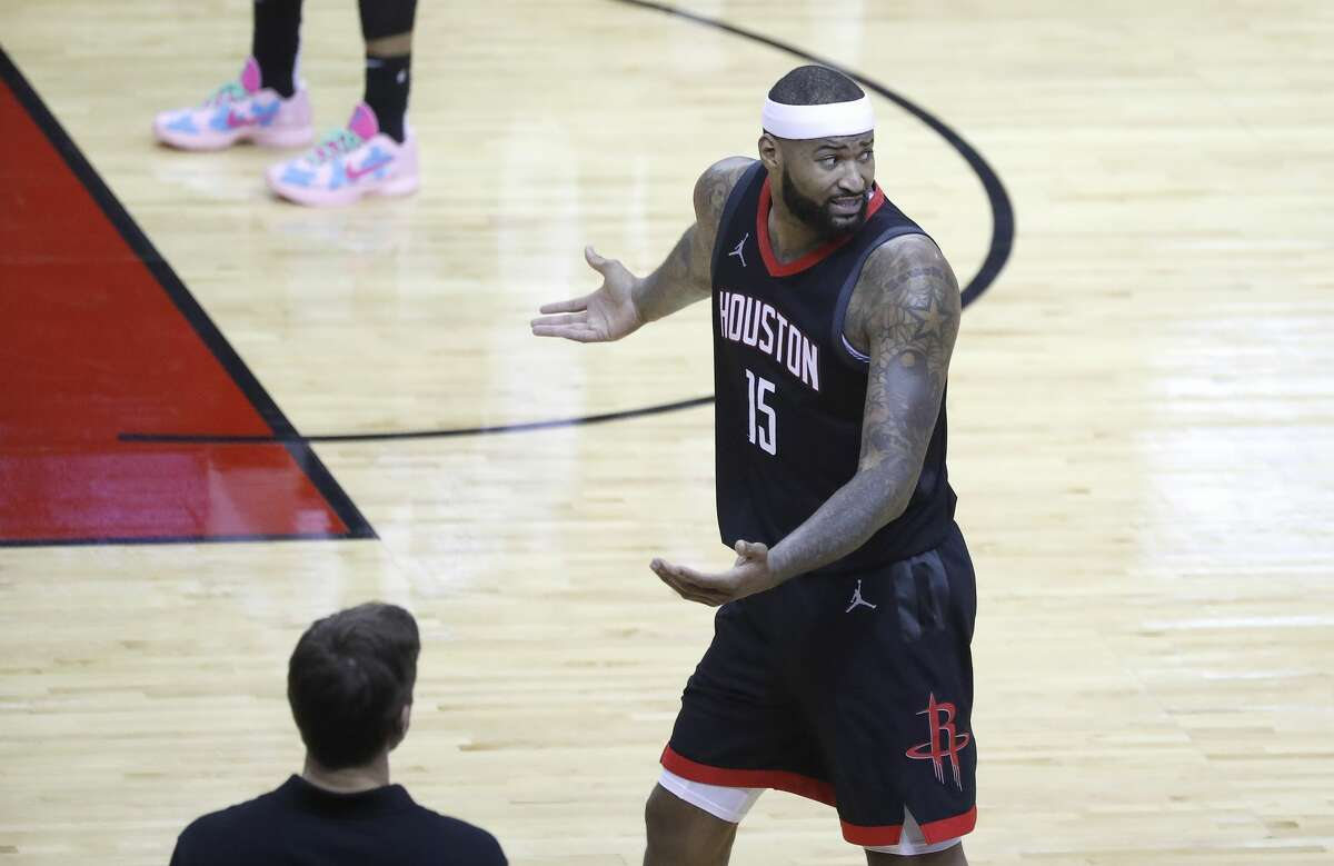 Houston Rockets center DeMarcus Cousins (15) argues after a foul was called on him during the second half of an NBA basketball game at Toyota Center, in Houston, Saturday, Feb. 6.