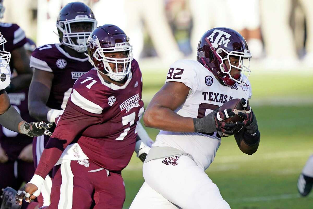 Texas A&M defensive lineman Jayden Peevy (92) is among several seniors taking advantage of an extra year of eligibility because of the coronavirus pandemic.