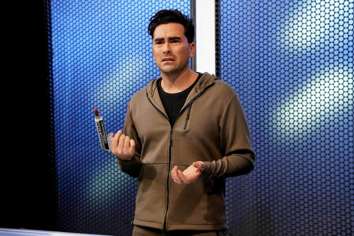 """Host Dan Levy during the """"Men's Cosmetics"""" sketch on """"Saturday Night Live"""" on February 6, 2021."""
