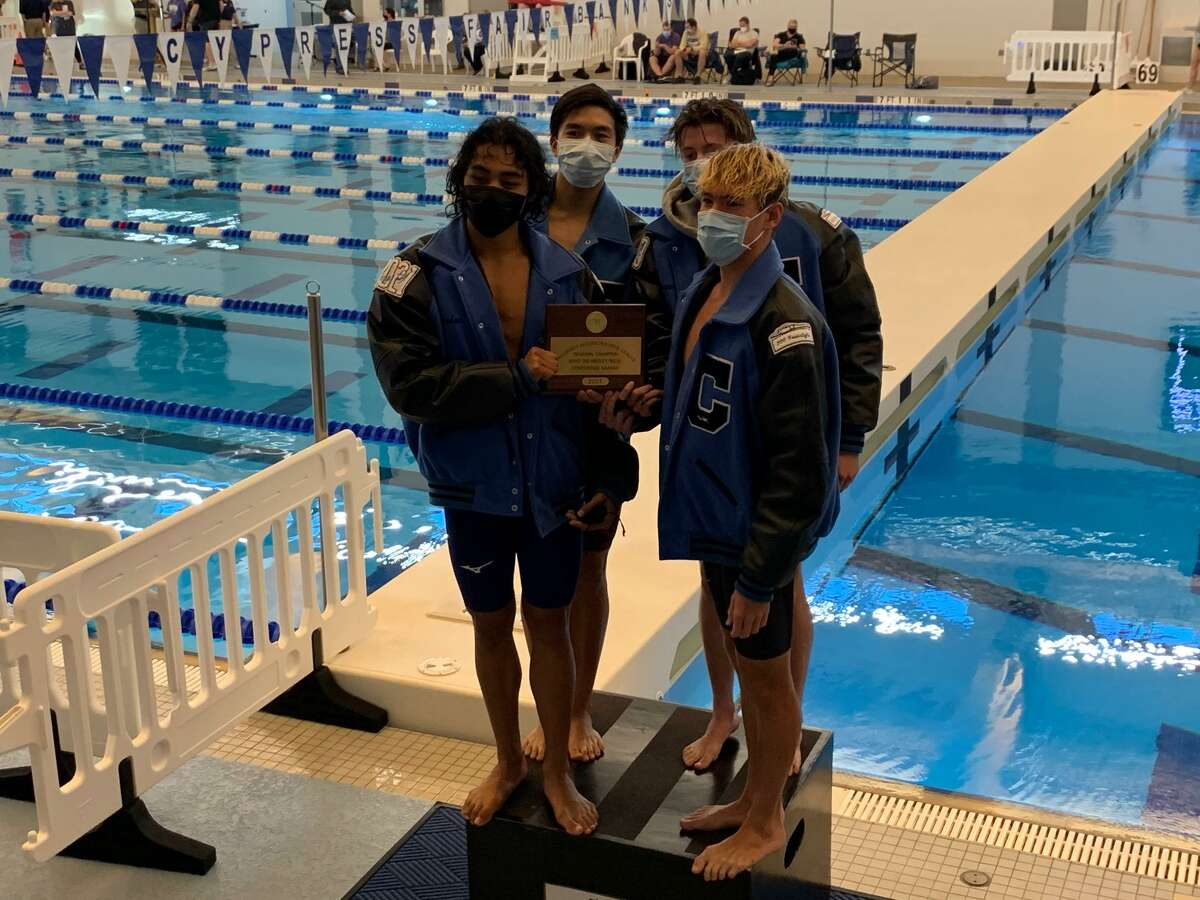The Clements boys 200-yard medley relay team set a pool record in victory at the Region V-6A championships Feb. 6 at the Cy-Fair ISD Natatorium.