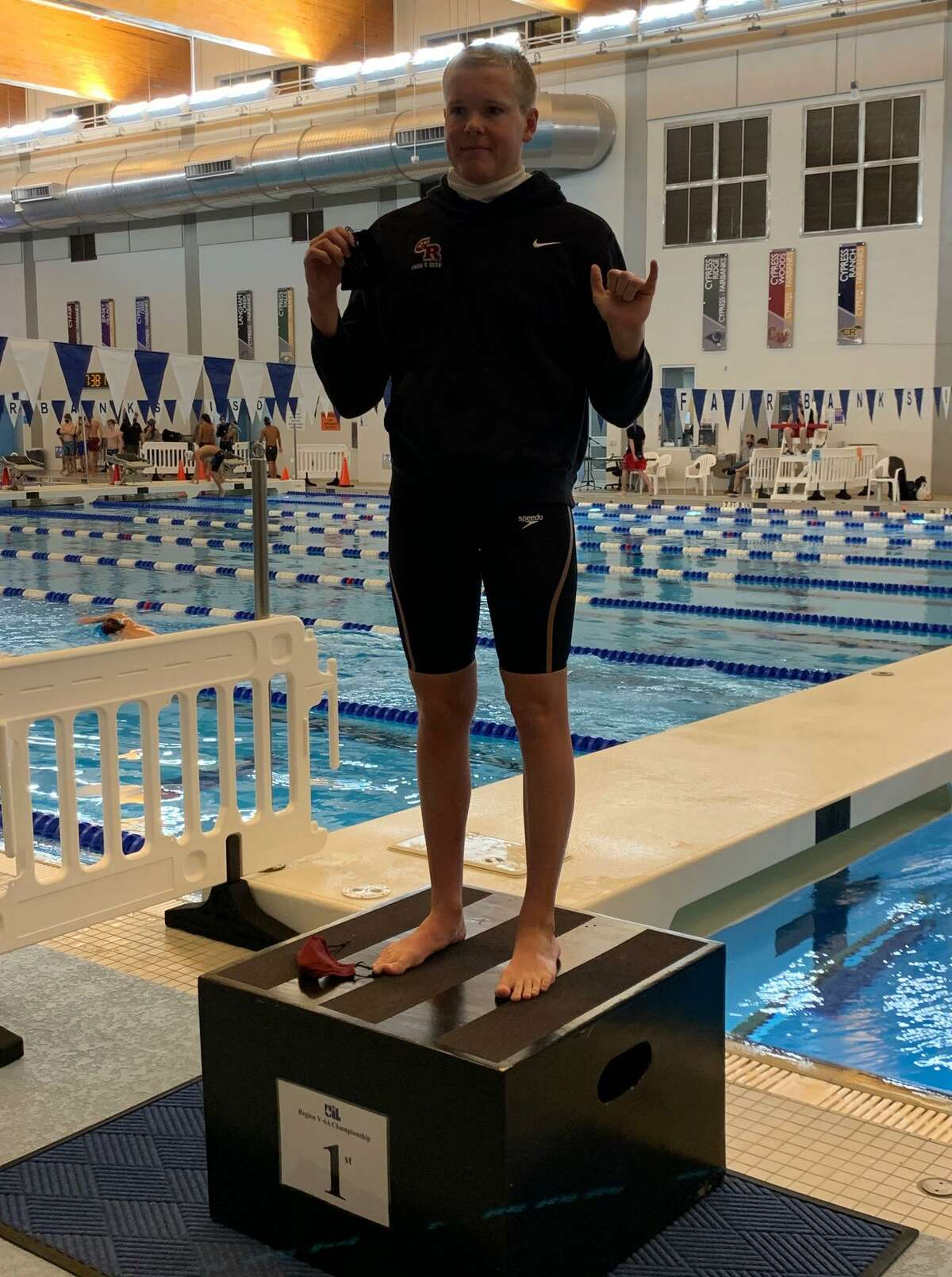 George Ranch senior Reese Voelkel won the 100-yard backstroke, setting a pool record, at the Region V-6A championships Feb. 6 at the Cy-Fair ISD Natatorium.