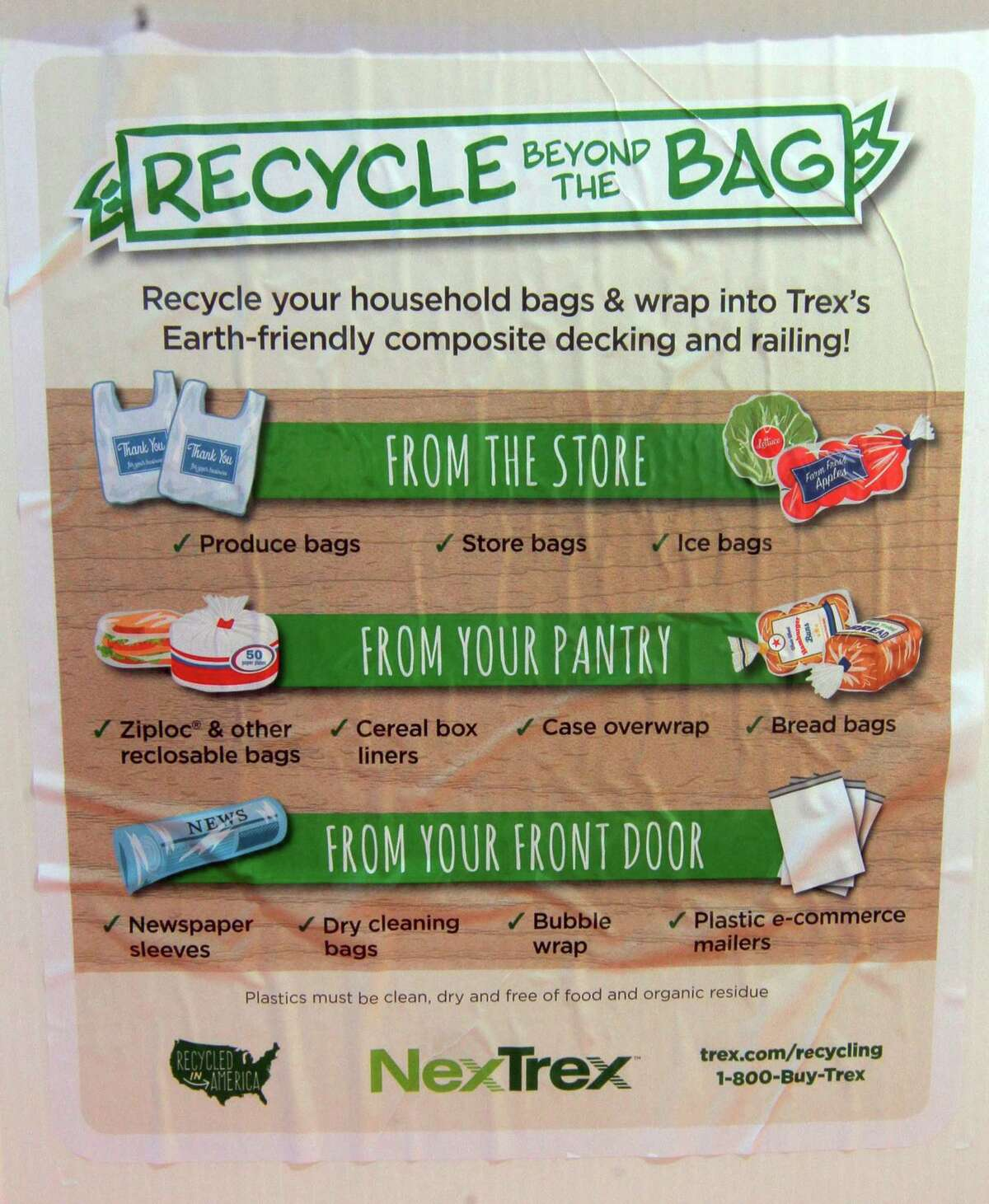 Info is posted on the side of a NexTrex recycling bin at Trumbull Town Hall in Trumbull, Conn., on Saturday Feb. 6, 2020. April Lang, with Sustainable Trumbull, is coordinating a recycling challenge to get plastic bags out of landfills and prevent them from becoming litter.