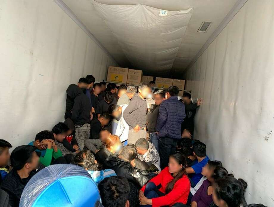 U.S. Border Patrol agents said they discovered 77 immigrants inside a trailer that was parked near the intersection of Ruhlman and Quivira drives in the Pan American Business Park in northwest Laredo. Photo: Courtesy Photo /U.S. Border Patrol