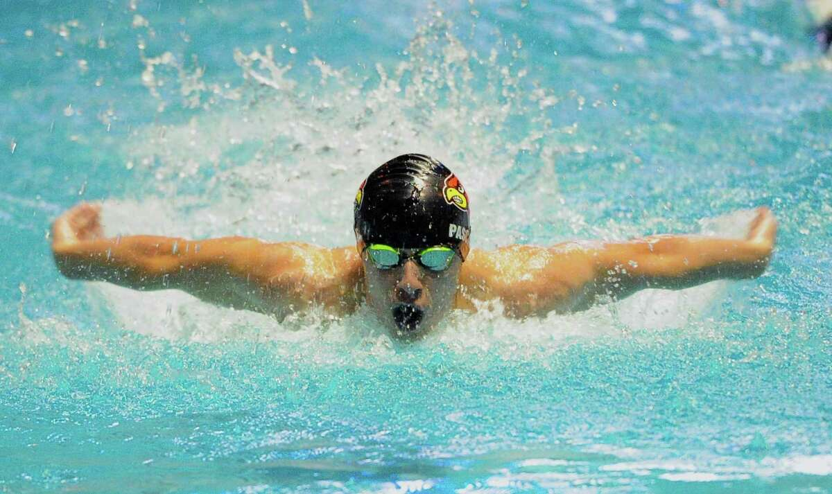 Greenwich's James Pascale competes in the 100 butterfly in 2019.