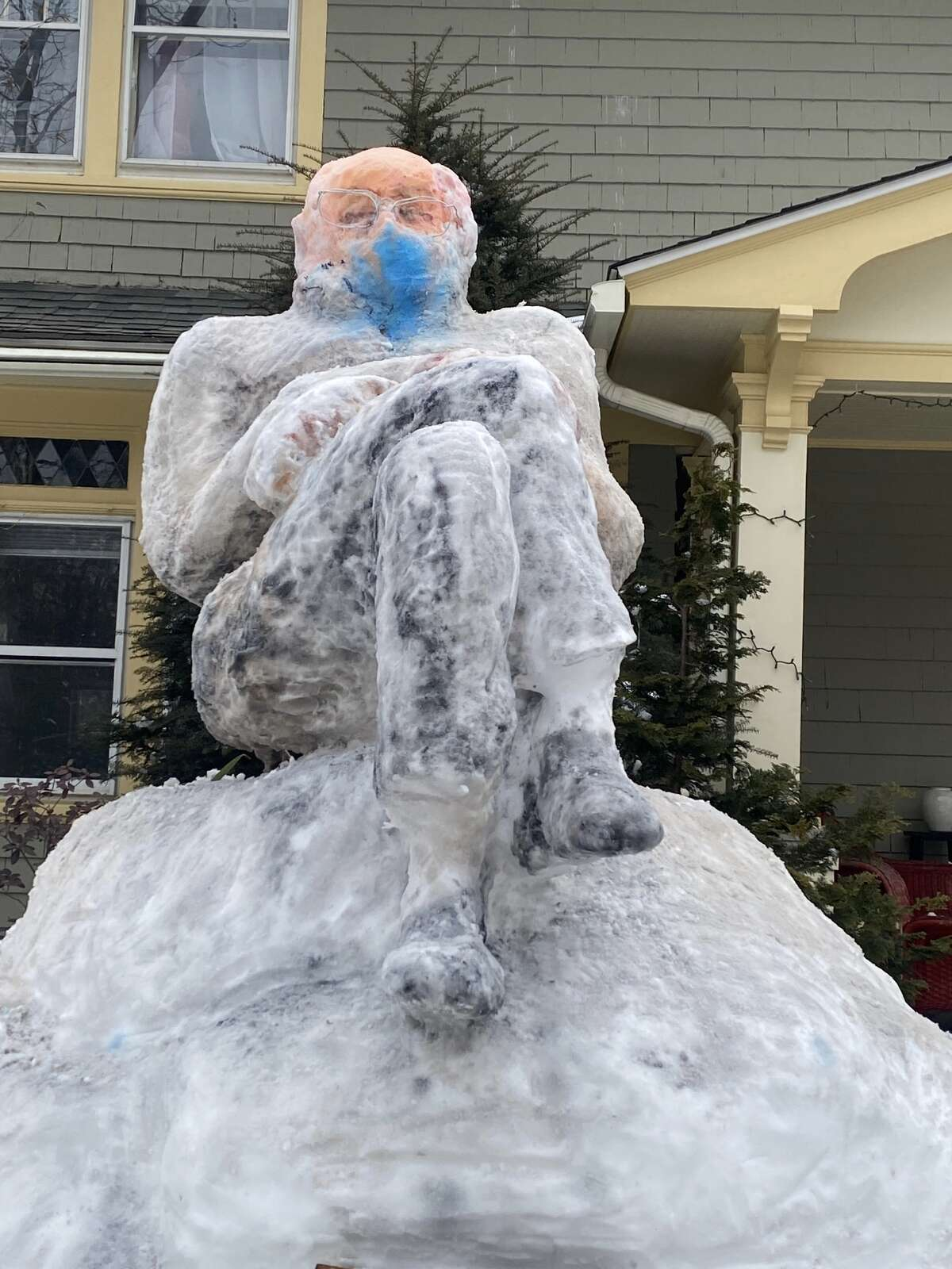 SnowBernie after he was painted. Instead of splicing the image of Sen. Bernie Sanders wearing mittens into a photo of a pizzeria or next to a beluga whale, David Sepulveda - a retired art instructor who said he worked in Stamford Public Schools for about 36 years - made his own masterpiece: A painted snow sculpture.